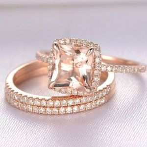 18K Rose Gold Plated with 4.25ct Morganite Ring